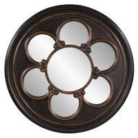 Delphia Rustic Black Round Mirror