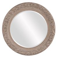 Vicky Antique Taupe Round Scroll Mirror