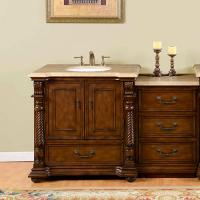 57 Inch Single Sink Bathroom Vanity with Extra Bank of Drawers