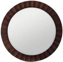 Savona Round Mirror with Washed Brown Finish and Dark Brown Highlights