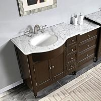 58 Inch Modern Single Bathroom Vanity with White Marble