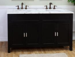 Beau 60 Inch Double Sink Bathroom Vanity In Ebony