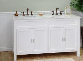 Superbe 60 Inch Double Sink Bathroom Vanity In White