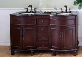 Bellaterra Home 62 Inch Double Sink Bathroom Vanity