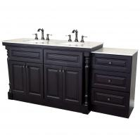 74 Inch Double Bath Vanity with Extra Storage