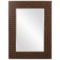 Maddux Faux Walnut with Black Highlights and Bronze and Gold Nailhead Accents Mirror
