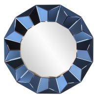 Kaleidoscope Cobalt Blue Round Mirror