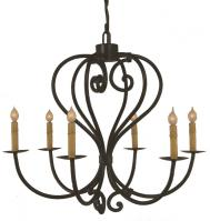 6 Light Heart  Wrought Iron Chandelier