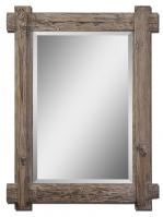 Claudio Rectangular Light Walnut with Burnished Details Mirror