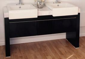 57 75 Inch Double Sink Bathroom Vanity With A Black Finish