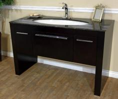 55 Inch Single Sink Bath Vanity in Walnut