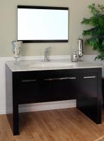 55.3 Inch Single Sink Bathroom Vanity with Dark Walnut Finish and White Marble