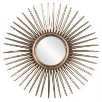 Cascade Starburst Silver Leaf Round Mirror