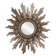 Chelsea Antique Starburst Silver Leaf Round Mirror