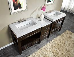 92 Inch Double Sink Cabinet with Espresso Finish and White Marble Top
