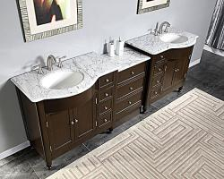 95 Inch Modern Double Bathroom Vanity with White Marble