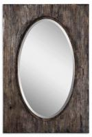 Hichcock Rectangular Natural Wood Tone with Burnished Distressing Mirror