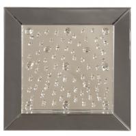 Bliss Square Black Glass Frame with Crystal Accents and Mirror