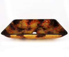 Multi Colored Rectangular Glass Vessel Sink 146