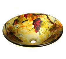 Yellow and Gold Vine Patterned Glass Vessel Sink