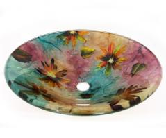 Multi Colored Round Glass Vessel Sink 184