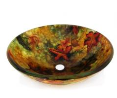 Multi Colored Round Glass Vessel Sink 214