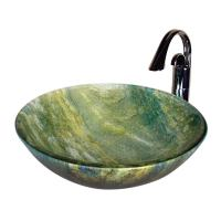 Ocean Green Round Glass Vessel Sink
