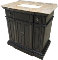 36 Inch Single Sink Bathroom Vanity with a Distressed Black Finish