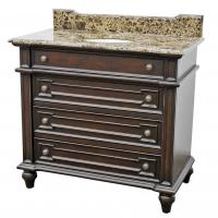 40 Inch Single Sink Bathroom Vanity with Brown Parquet Marble Top