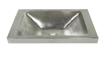 Brushed Nickel Copper Raised Profile Bathroom Sink