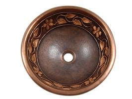 Copper Flower and Vine Design Round Vessel Sink