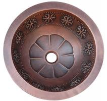 Copper Thin Star Design Round Vessel Sink