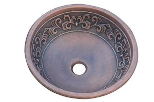 Copper Leaf Design Round Vessel Sink