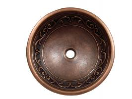 Copper Vine Design Round Vessel Sink