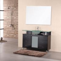 48 Inch Modern Single Sink Bathroom Vanity with Frosted Glass Countertop and Sink