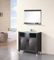 36 Inch Modern Single Sink Bathroom Vanity with Tempered Glass Counter Top
