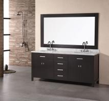 Narrow Bathroom Vanities on 72 Inch Modern Double Sink Bathroom Vanity In Espresso With White