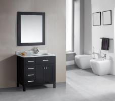 36 Inch Single Sink Bathroom Vanity with a Flip Down Shelf