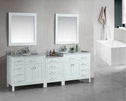 92 Inch Double Sink Bathroom Vanity with Extra Storage Room