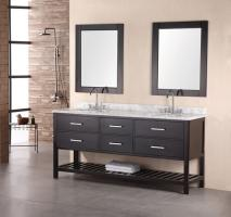 72 Inch Modern White Marble Double Sink Bathroom Vanity in Espresso