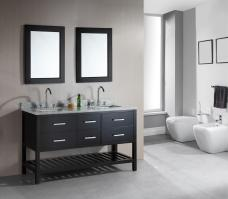61 Inch Double Sink Bathroom Vanity in Espresso