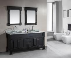 72 Inch Double Sink Bathroom Vanity with Carerra Marble Top
