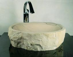 Round Natural Exterior Sand Stone Vessel Sink