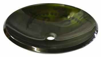 Forest Green Embossed Glass Sink With Tapered Rim