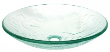 Eden Bath Clear Embossed Waves Glass Vessel Sink