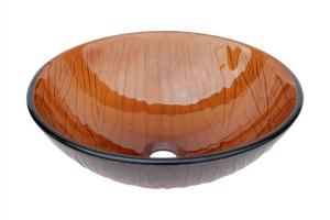 Eden Bath Cola Brown Wood Vein Glass Vessel Sink