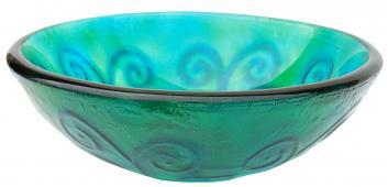 Eden Bath Green And Blue Swirls Glass Vessel Sink