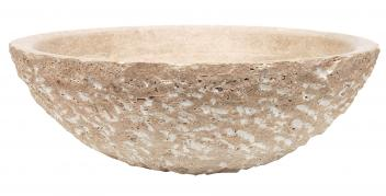 Beige Travertine Vessel Sink Rough Exterior Honed Interior