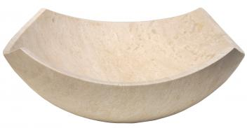 Arched Edges Beige Travertine Bowl Vessel Sink