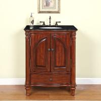 30 Inch Traditional Single Bathroom Vanity with a Black Galaxy Granite Counter Top